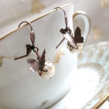 """Boucles d'oreilles rétro-fantaisie """"Butterfly"""""""