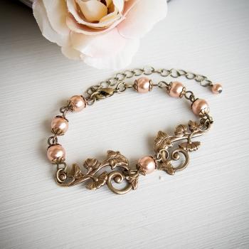 Bracelet rétro Art nouveau en métal bronze et perles nacrées