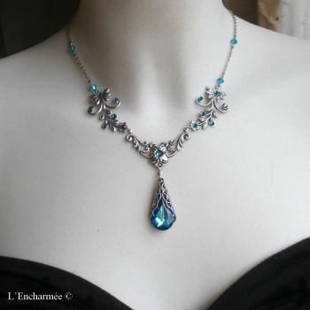 """Collier féerique en cristal de Swarovski ''Mélusine """" bleu"""