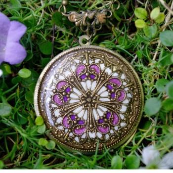"""Réservé pour  Claire PIEL ***Collier porte photos émaillé """"Hexagone rose"""""""