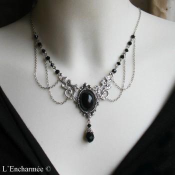 Collier vintage, elfique, médiéval « volubilis » noir