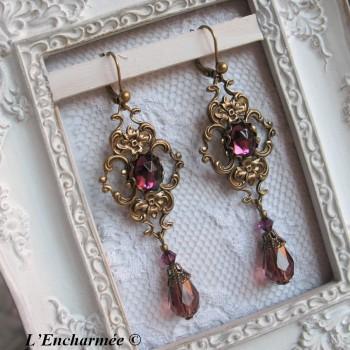 """Boucles d'oreilles victoriennes """"Brocéliande"""" violet"""