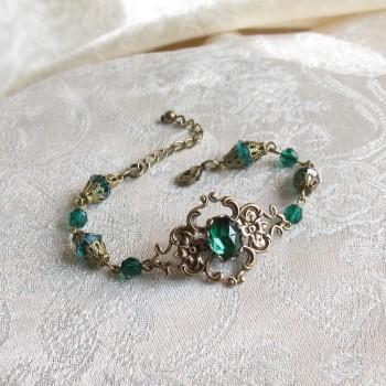 Bracelet vintage, victorien, « Brocéliande » bronze/vert