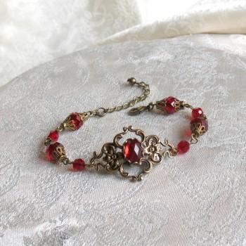 Bracelet vintage, victorien, « Brocéliande » bronze/rouge