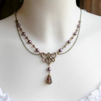Collier Art Nouveau avec cristal « Violine »