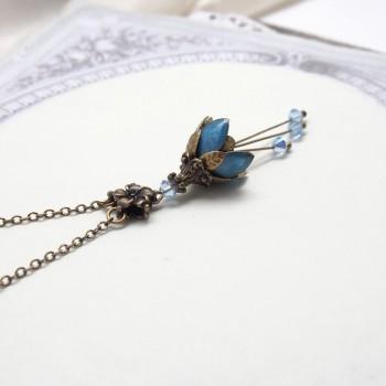 Clochette Bleue – Collier Féerique Elfique Emaillé