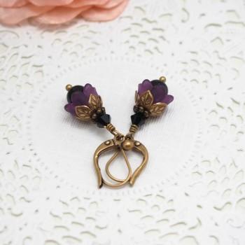 Boucles d'Oreille Fleur Féerique - Grelots Muguet Violet Noir