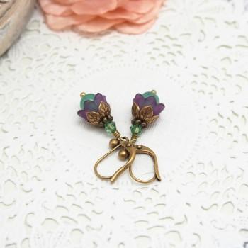 Boucles d'Oreille Fleur Féerique - Grelots Muguet Violet Vert
