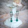 Boucles d'oreilles vintage argent et cristal vert émeraude