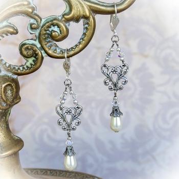 Boucles d'oreilles vintage nacrées en cristal de Swarovski