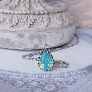 Pendentif féerique en cristal Héméra « bleu/vert Lagon »