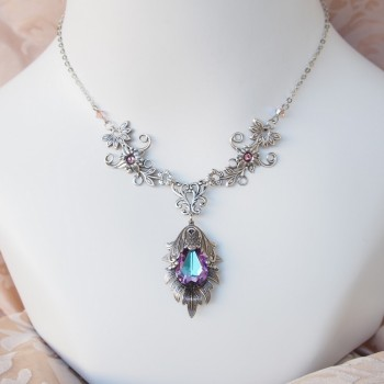 """Collier elfique féerique en cristal ''Edelweiss"""", améthyste bleutée"""