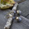 Boucles d'oreilles vintage  clochettes  féeriques bleu lavande
