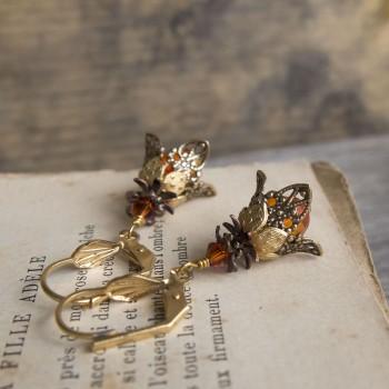 Boucles d'oreille clochettes orange bronze et doré