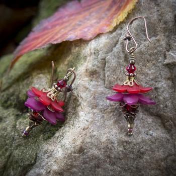 Boucles d'oreilles clochettes « fée de l'été » de couleurs rouge et fuchsia