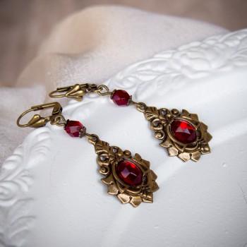 Boucles d'oreille vintage bronze et cristal – Volute rouge