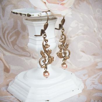 Boucles d'oreilles vintage Art Nouveau bronze et nacre rose