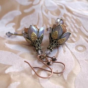 Clochettes Parme - Boucles d'Oreilles Vintage émaillées