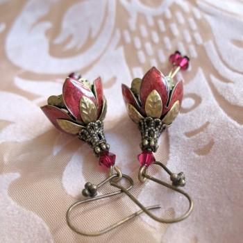 Clochettes Rouge – Boucles d'Oreille Vintage Emaillées